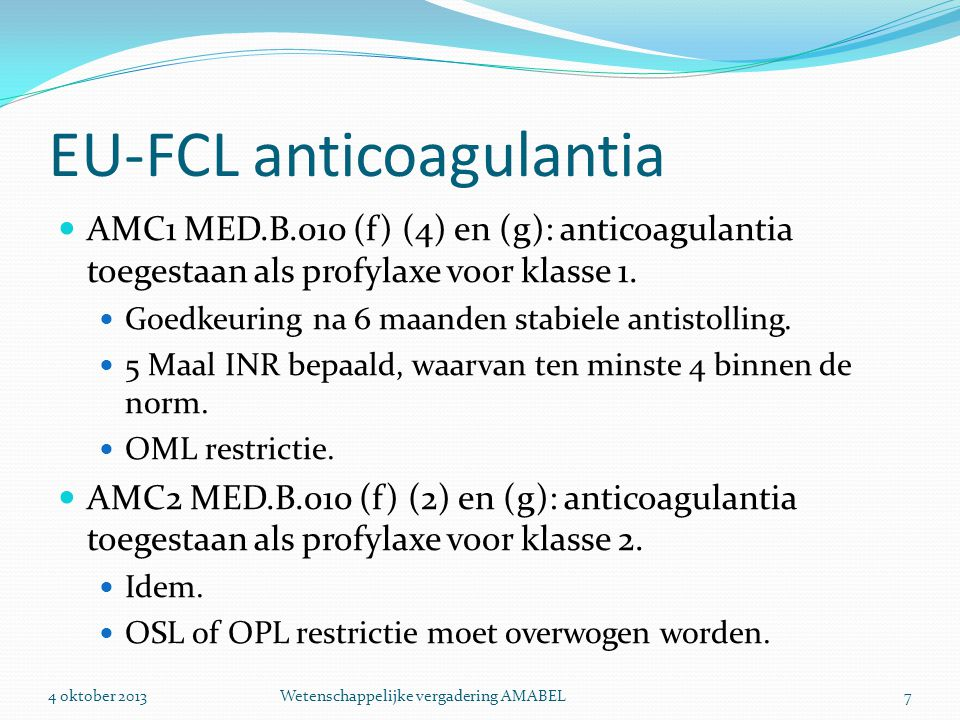 EU-FCL anticoagulantia