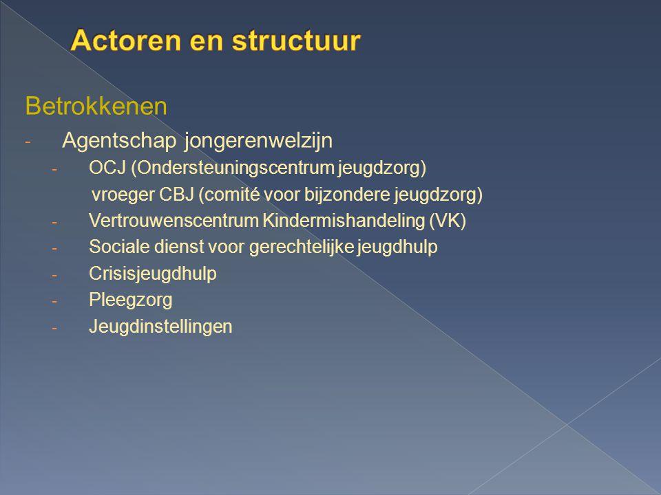 Actoren en structuur Betrokkenen Agentschap jongerenwelzijn
