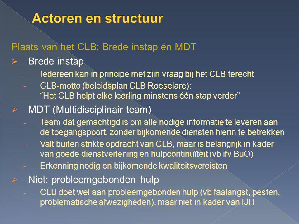 Actoren en structuur Plaats van het CLB: Brede instap én MDT