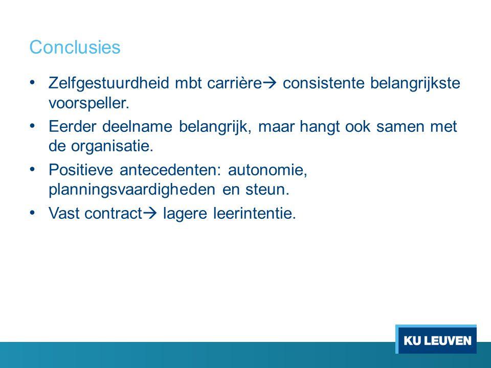 Conclusies Zelfgestuurdheid mbt carrière consistente belangrijkste voorspeller.