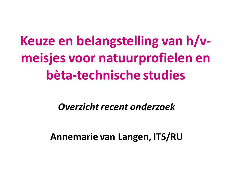 Overzicht recent onderzoek Annemarie van Langen, ITS/RU