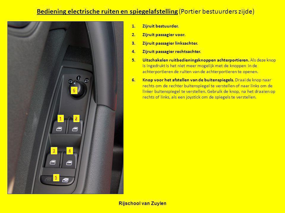 Bediening electrische ruiten en spiegelafstelling (Portier bestuurders zijde)
