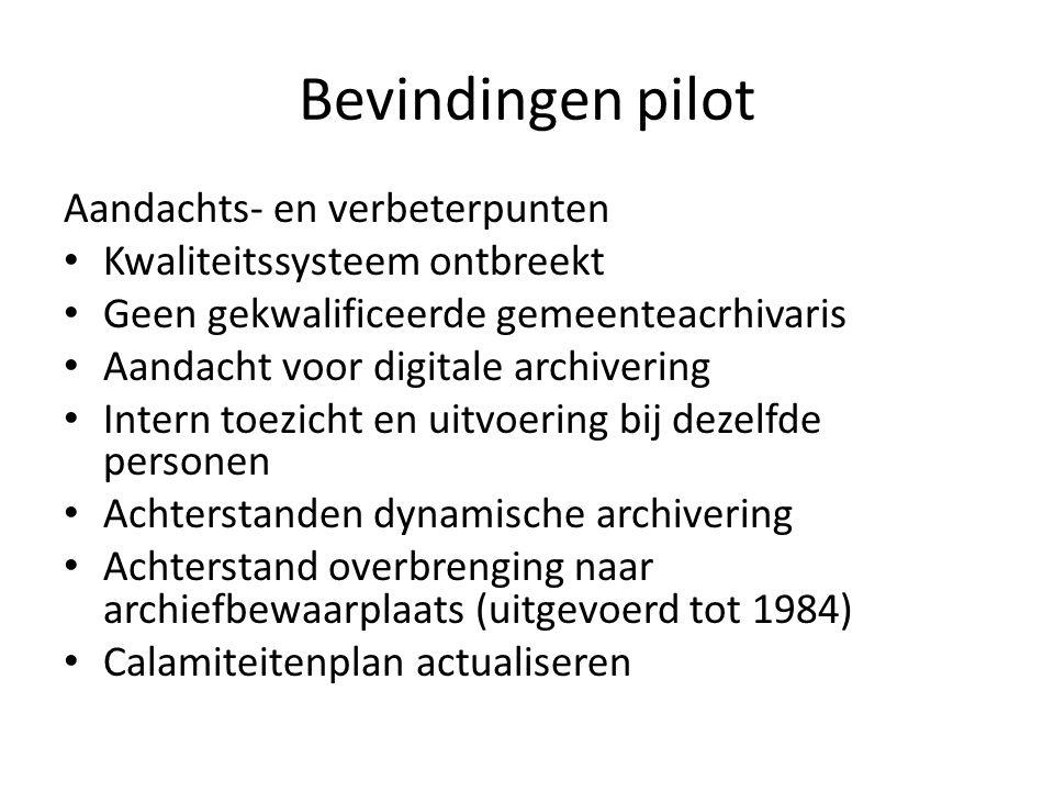 Bevindingen pilot Aandachts- en verbeterpunten