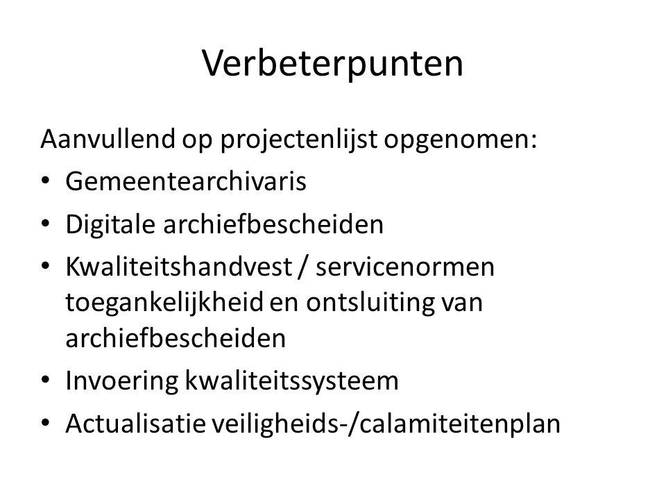 Verbeterpunten Aanvullend op projectenlijst opgenomen: