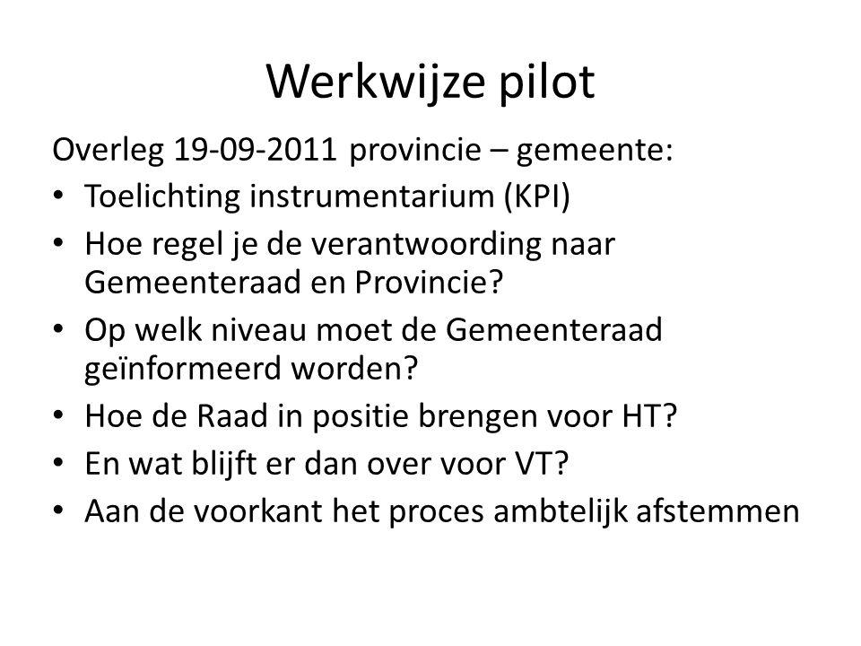 Werkwijze pilot Overleg 19-09-2011 provincie – gemeente: