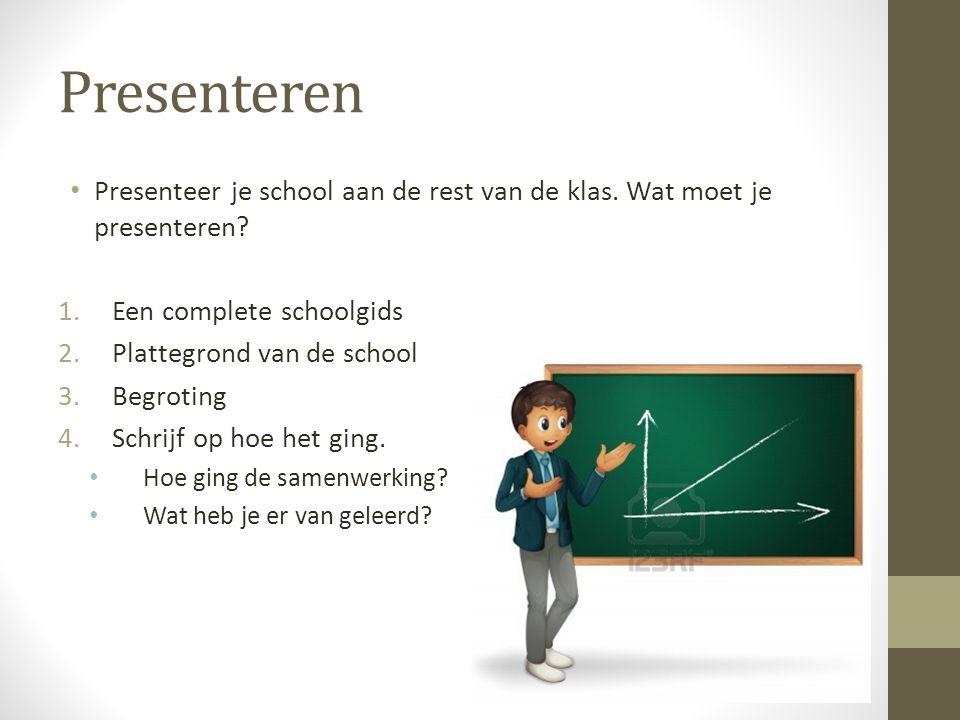 Presenteren Presenteer je school aan de rest van de klas. Wat moet je presenteren Een complete schoolgids.