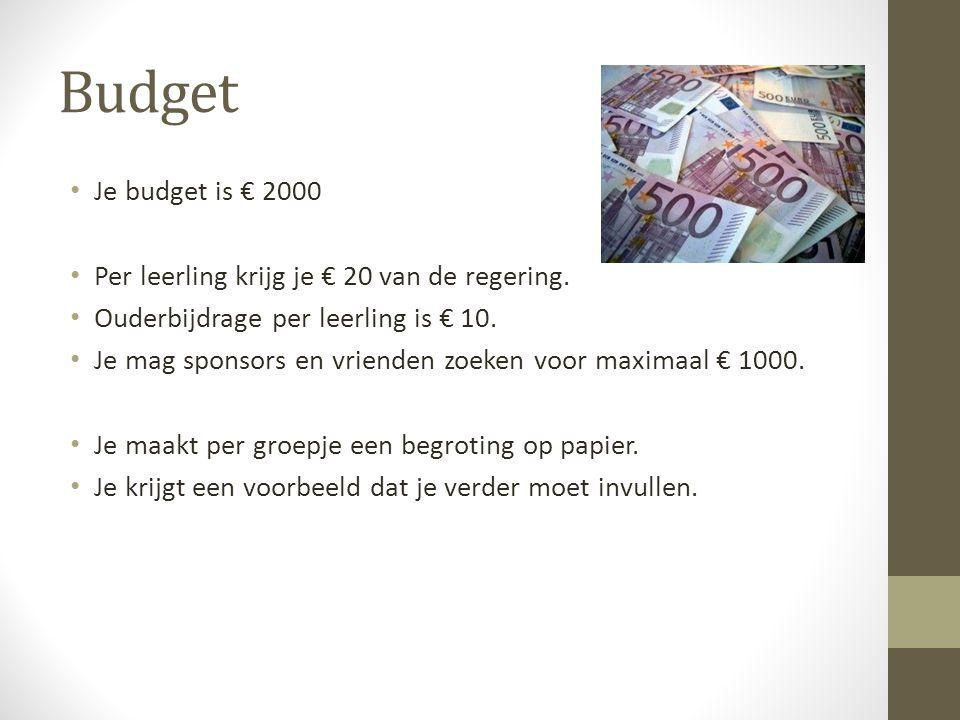Budget Je budget is € 2000 Per leerling krijg je € 20 van de regering.
