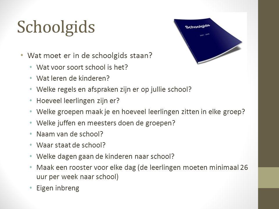 Schoolgids Wat moet er in de schoolgids staan