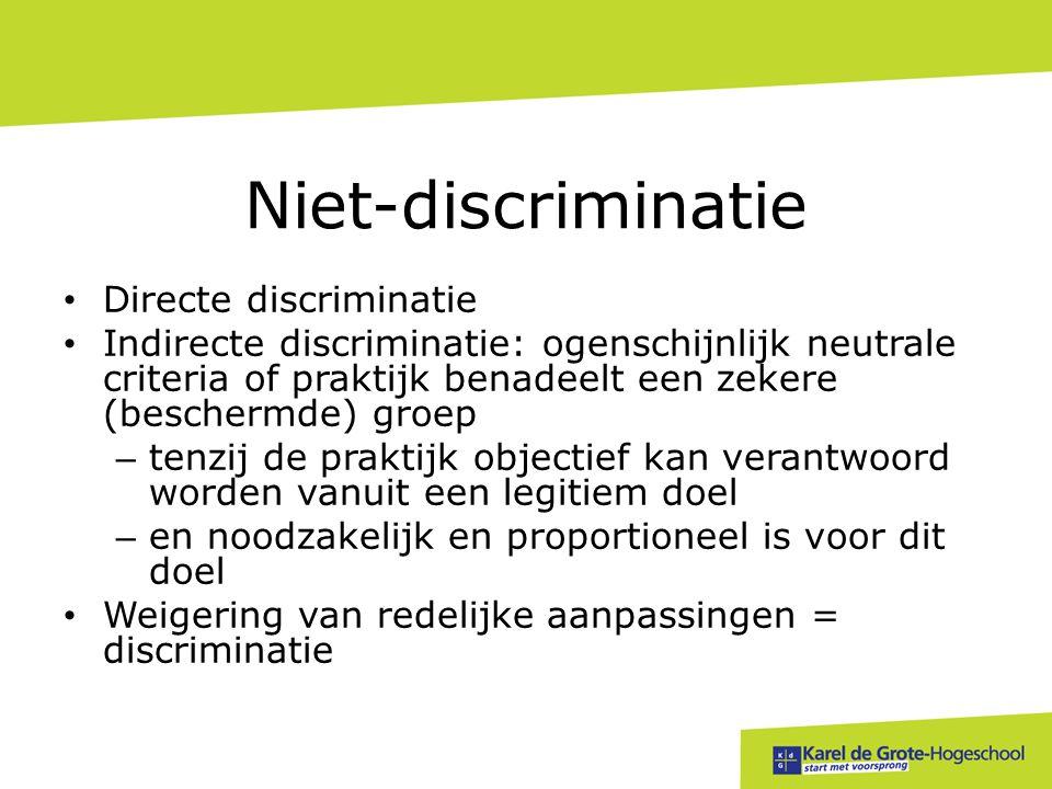 Niet-discriminatie Directe discriminatie