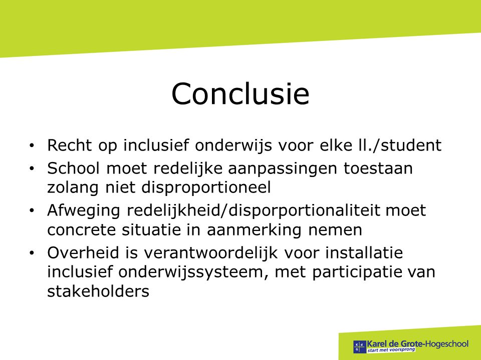 Conclusie Recht op inclusief onderwijs voor elke ll./student