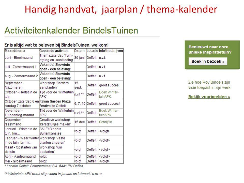 Handig handvat, jaarplan / thema-kalender