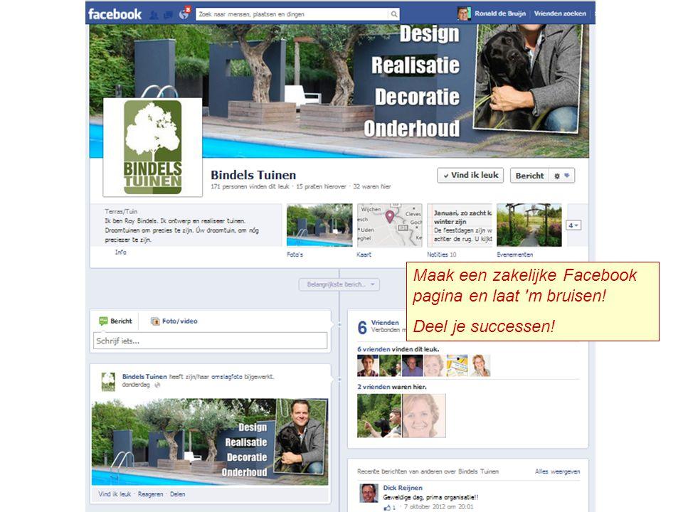 Maak een zakelijke Facebook pagina en laat m bruisen!