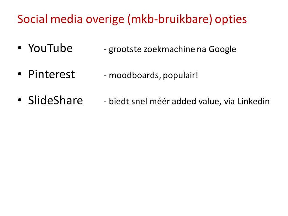 Social media overige (mkb-bruikbare) opties