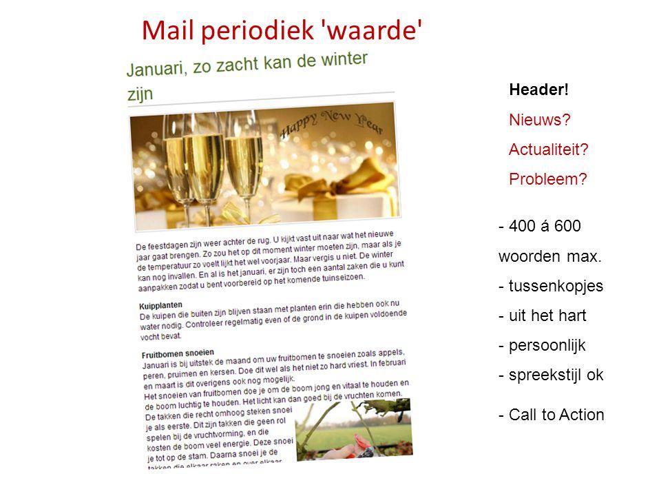 Mail periodiek waarde Header! Nieuws Actualiteit Probleem