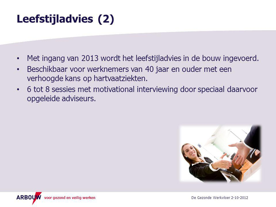Leefstijladvies (2) Met ingang van 2013 wordt het leefstijladvies in de bouw ingevoerd.