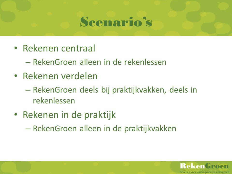 Scenario's Rekenen centraal Rekenen verdelen Rekenen in de praktijk