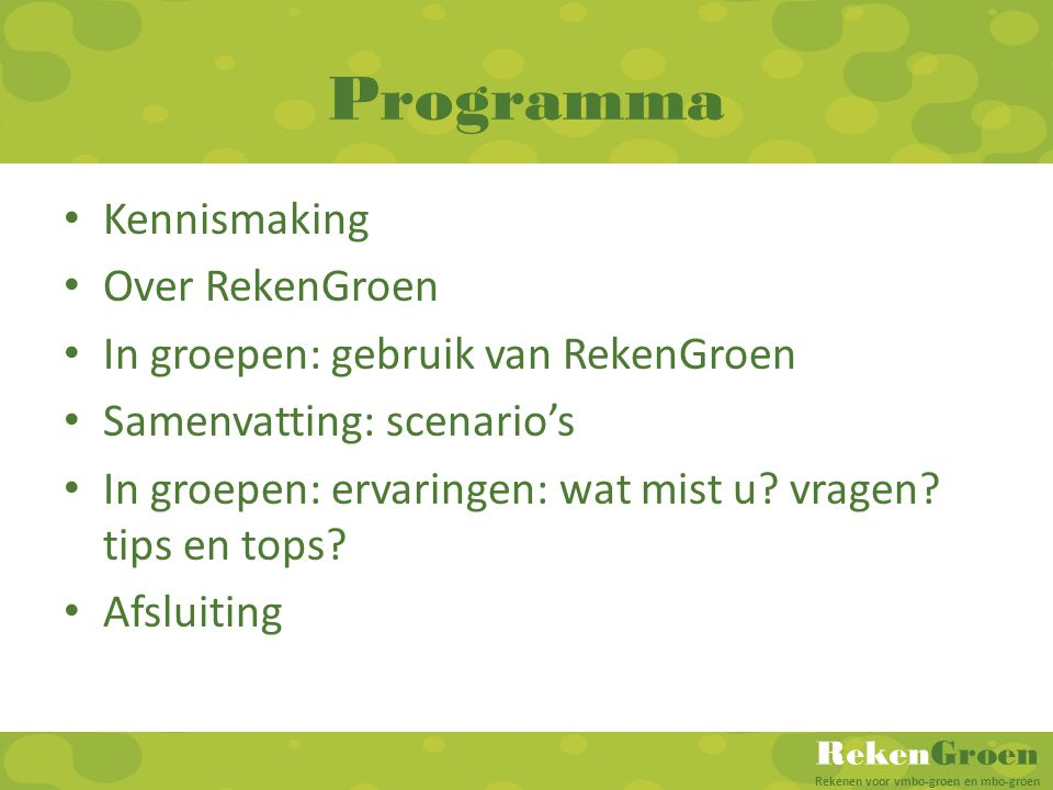 Programma Kennismaking Over RekenGroen