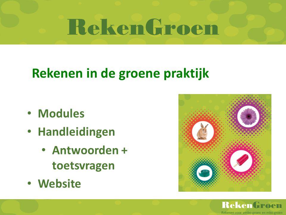 RekenGroen Rekenen in de groene praktijk Modules Handleidingen