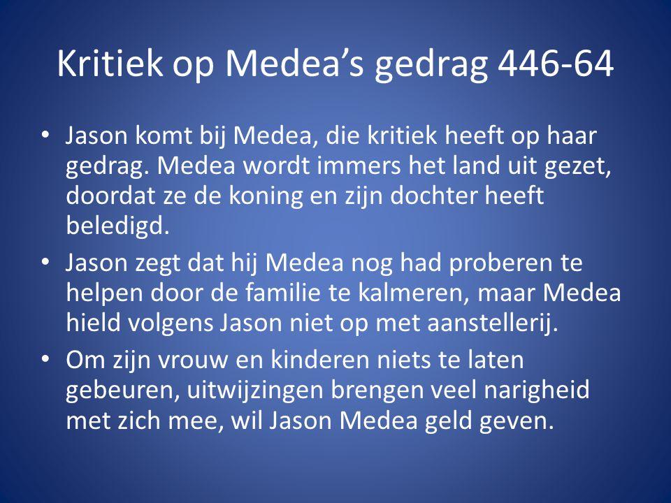 Kritiek op Medea's gedrag 446-64