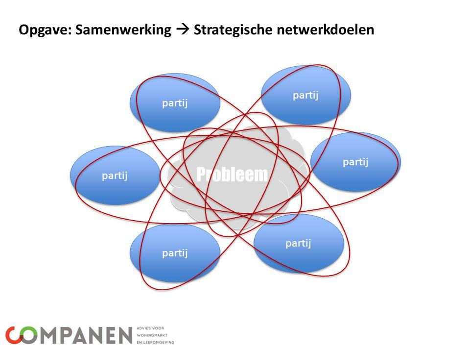 Probleem Opgave: Samenwerking  Strategische netwerkdoelen partij