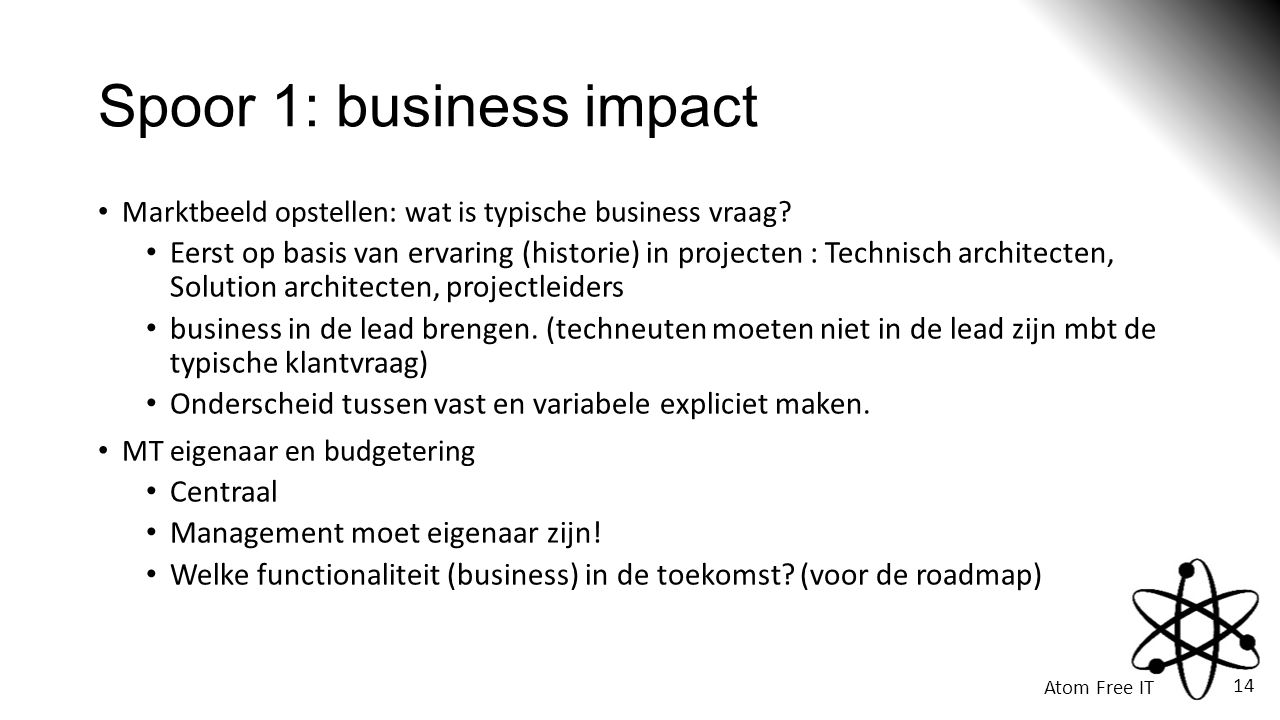 Spoor 1: business impact