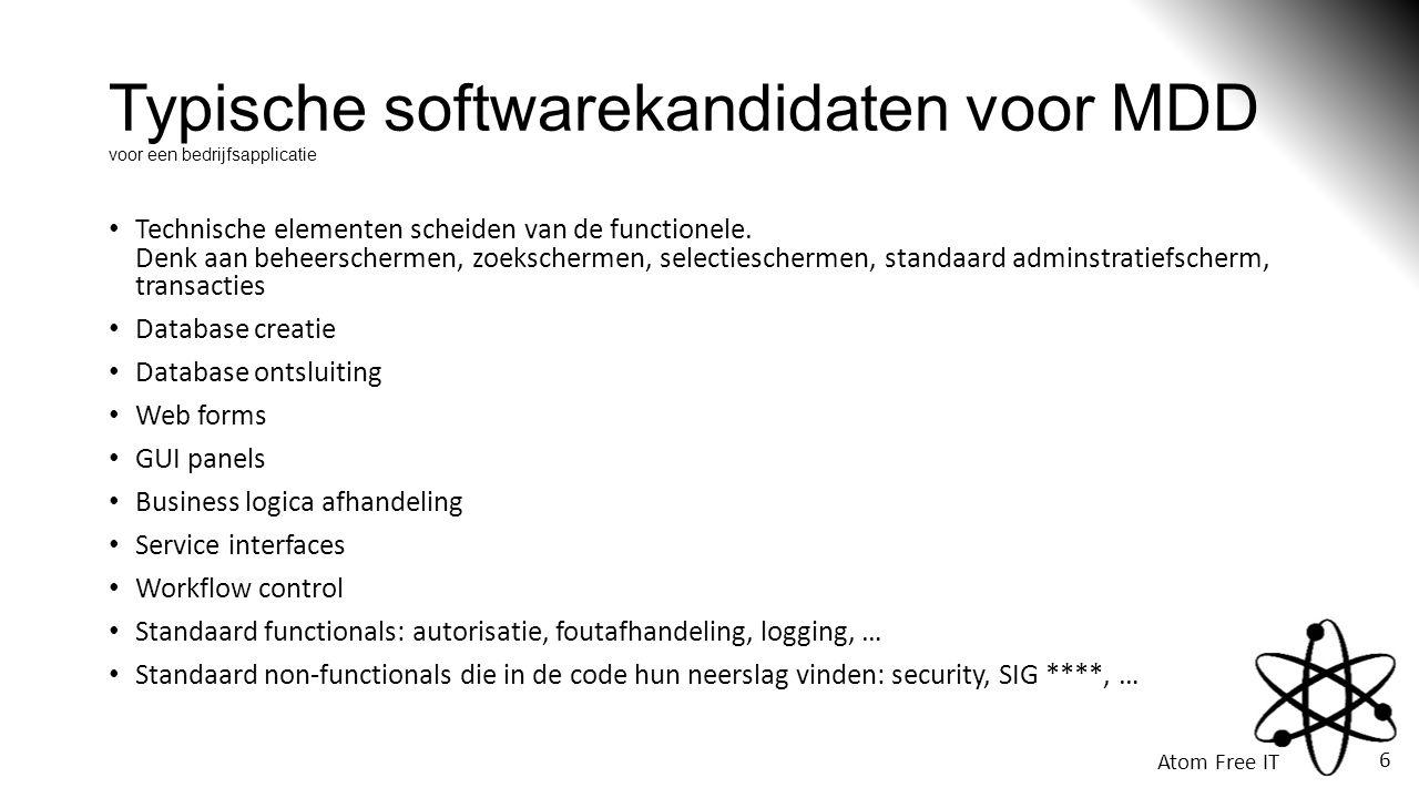 Typische softwarekandidaten voor MDD voor een bedrijfsapplicatie