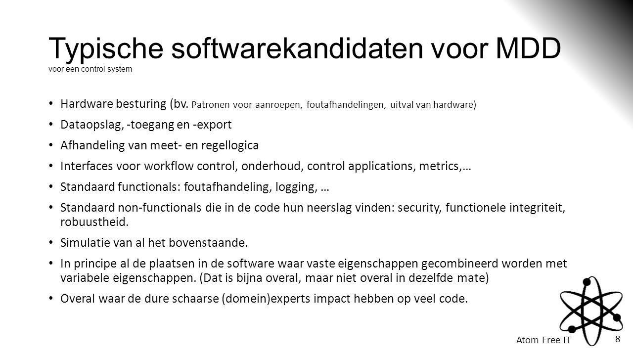 Typische softwarekandidaten voor MDD voor een control system