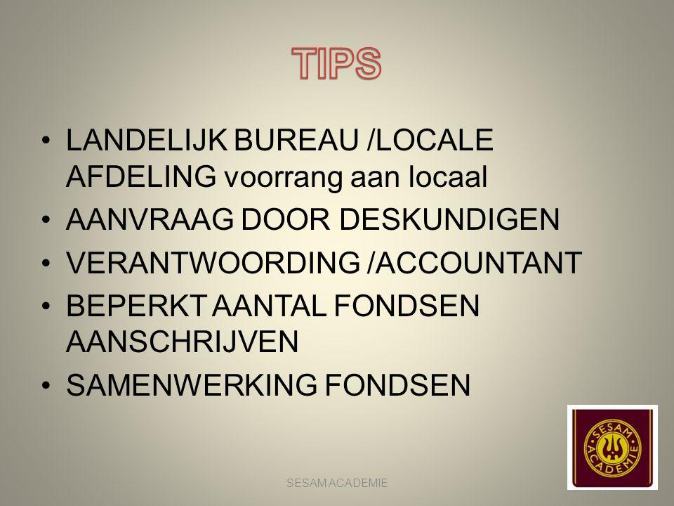 TIPS LANDELIJK BUREAU /LOCALE AFDELING voorrang aan locaal