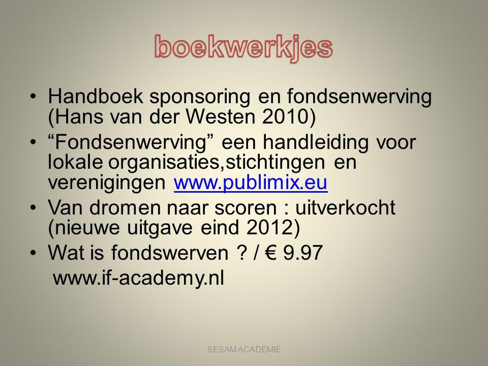 boekwerkjes Handboek sponsoring en fondsenwerving (Hans van der Westen 2010)