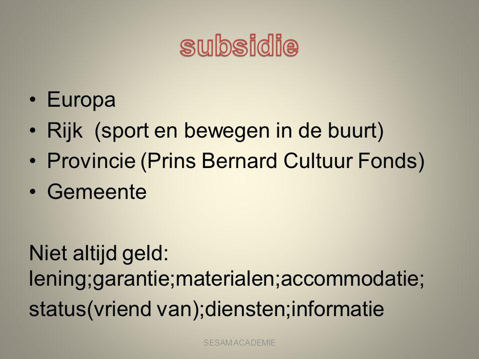 subsidie Europa Rijk (sport en bewegen in de buurt)