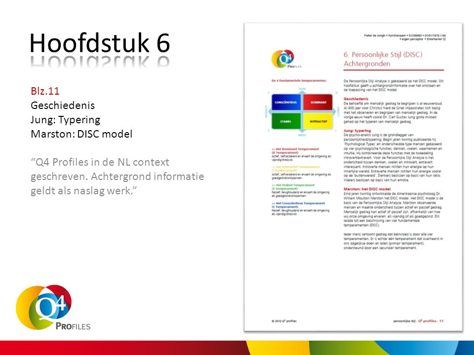 Hoofdstuk 6 Blz.11 Geschiedenis Jung: Typering Marston: DISC model