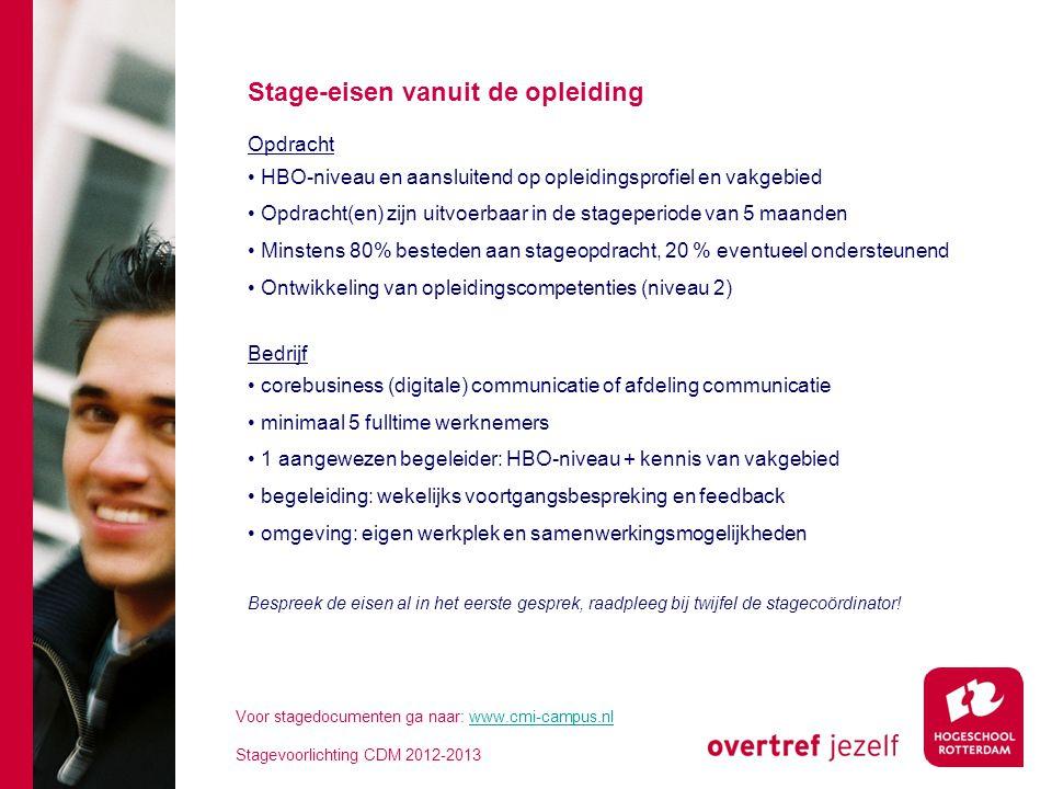 Stage-eisen vanuit de opleiding