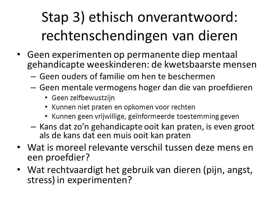 Stap 3) ethisch onverantwoord: rechtenschendingen van dieren
