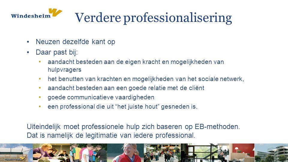 Verdere professionalisering