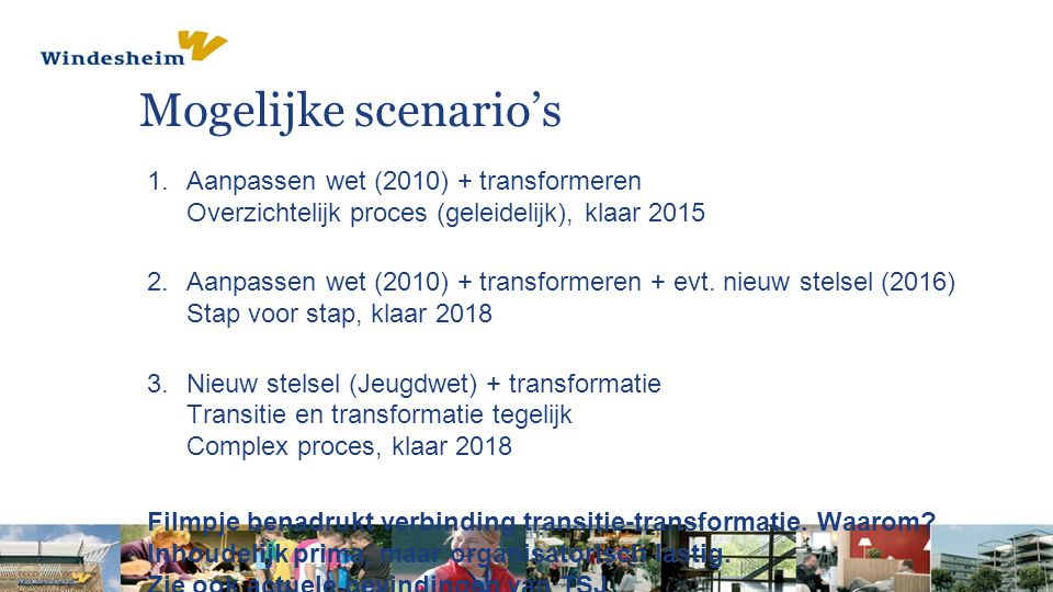 Mogelijke scenario's Aanpassen wet (2010) + transformeren Overzichtelijk proces (geleidelijk), klaar 2015.