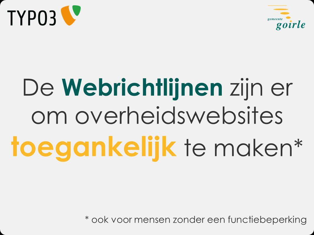 De Webrichtlijnen zijn er om overheidswebsites toegankelijk te maken*