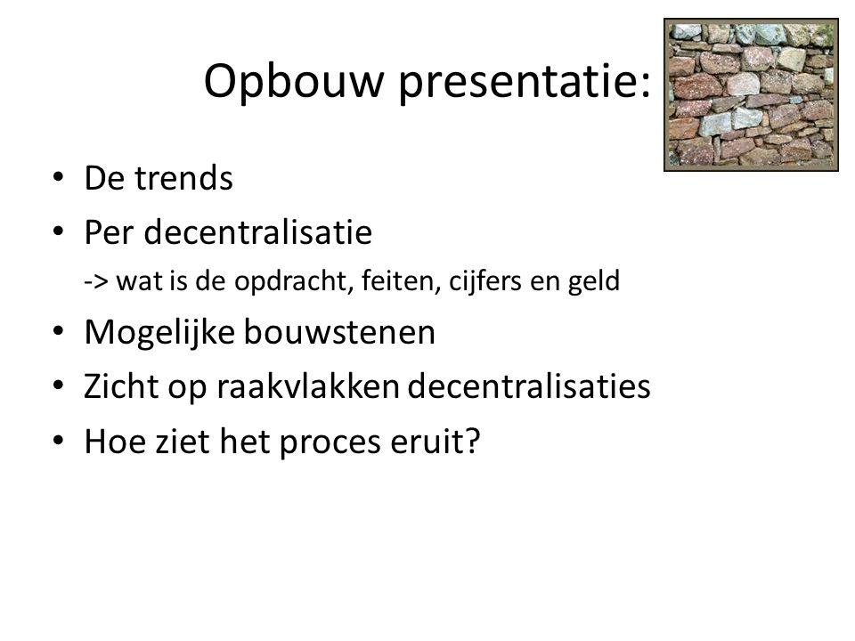 Opbouw presentatie: De trends Per decentralisatie Mogelijke bouwstenen