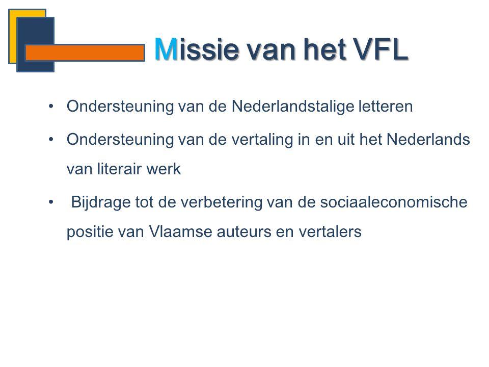 Missie van het VFL Ondersteuning van de Nederlandstalige letteren