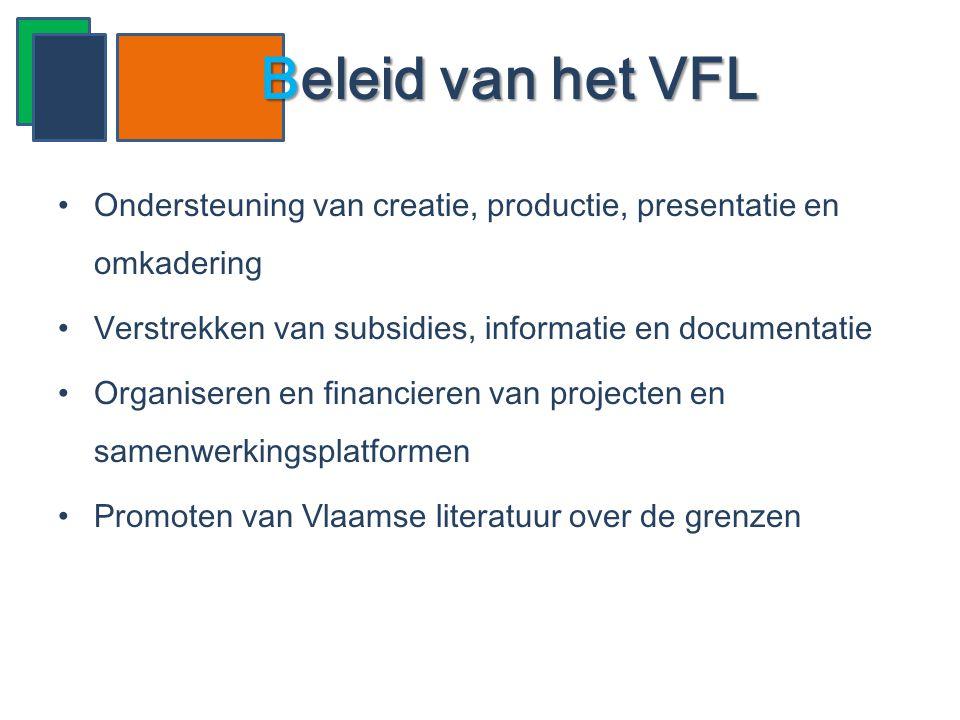 Beleid van het VFL Ondersteuning van creatie, productie, presentatie en omkadering. Verstrekken van subsidies, informatie en documentatie.