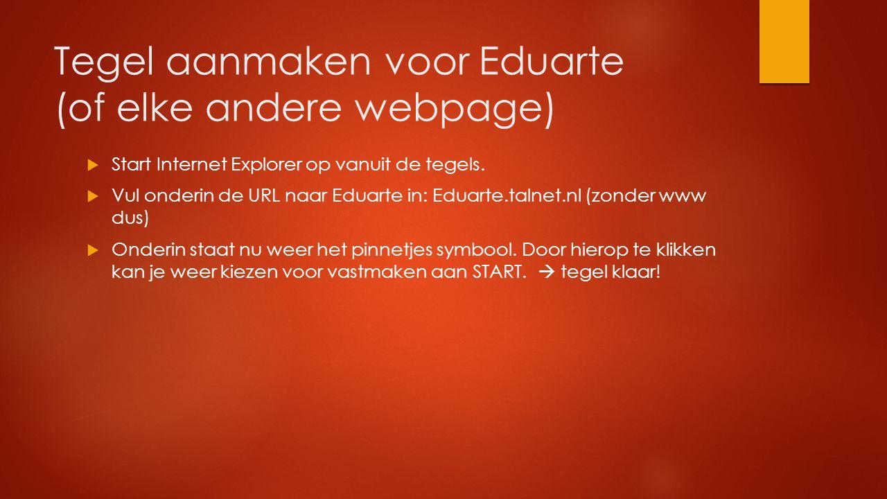 Tegel aanmaken voor Eduarte (of elke andere webpage)