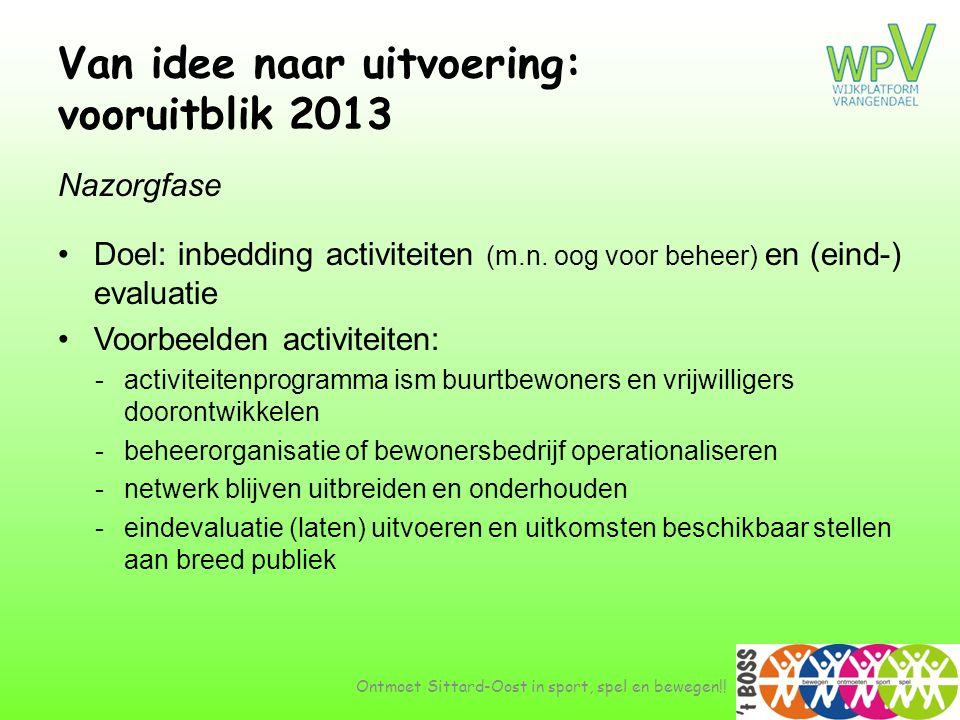 Van idee naar uitvoering: vooruitblik 2013