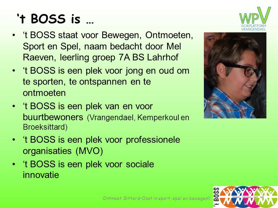't BOSS is … 't BOSS staat voor Bewegen, Ontmoeten, Sport en Spel, naam bedacht door Mel Raeven, leerling groep 7A BS Lahrhof.