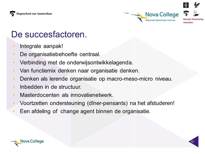 De succesfactoren. Integrale aanpak! De organisatiebehoefte centraal.