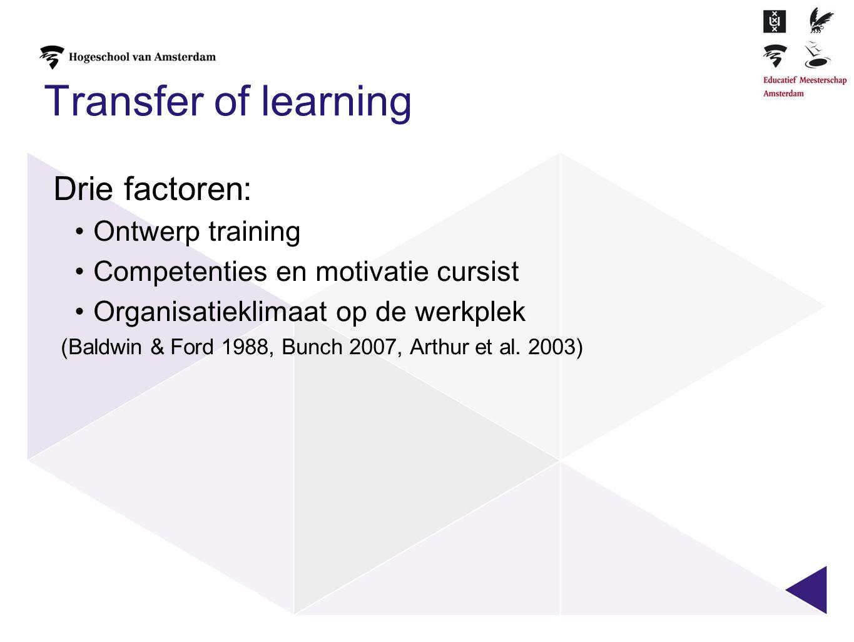 Transfer of learning Drie factoren: Ontwerp training