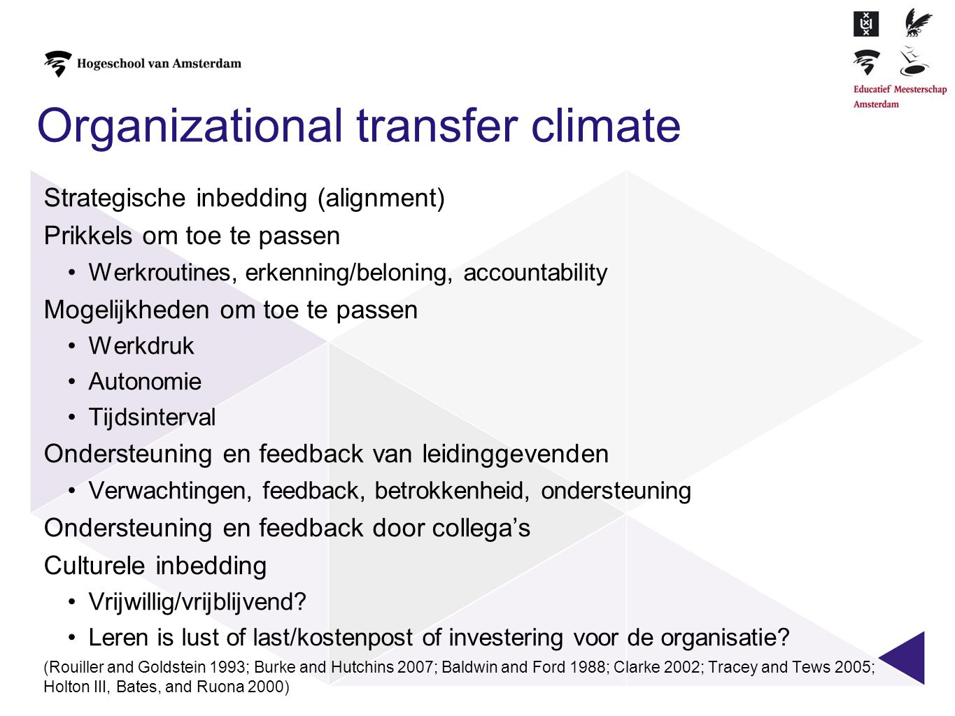 Organizational transfer climate