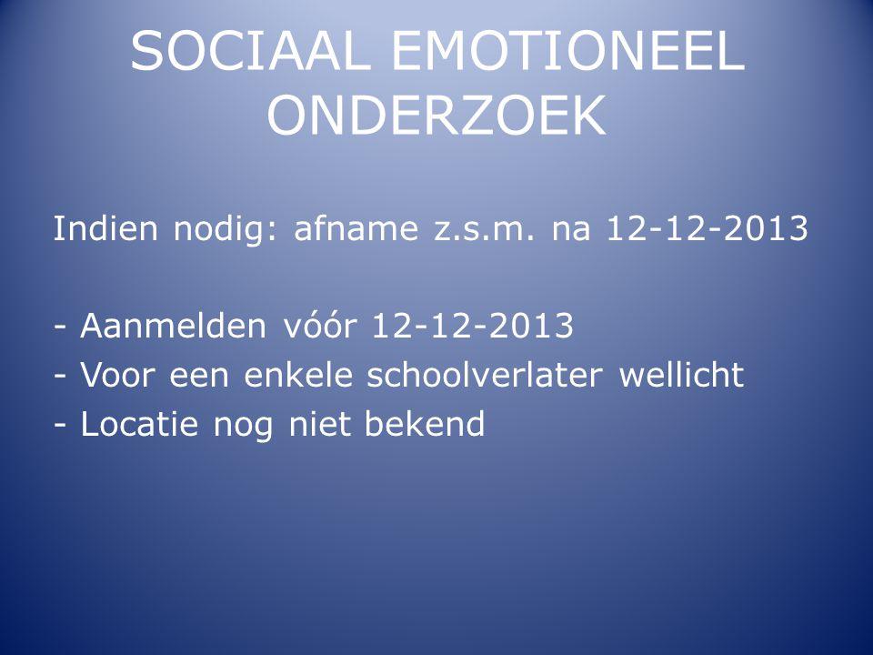 SOCIAAL EMOTIONEEL ONDERZOEK