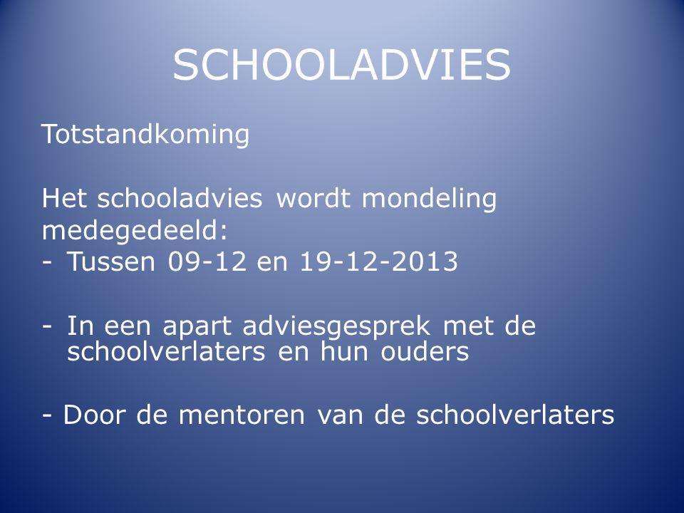 SCHOOLADVIES Totstandkoming Het schooladvies wordt mondeling