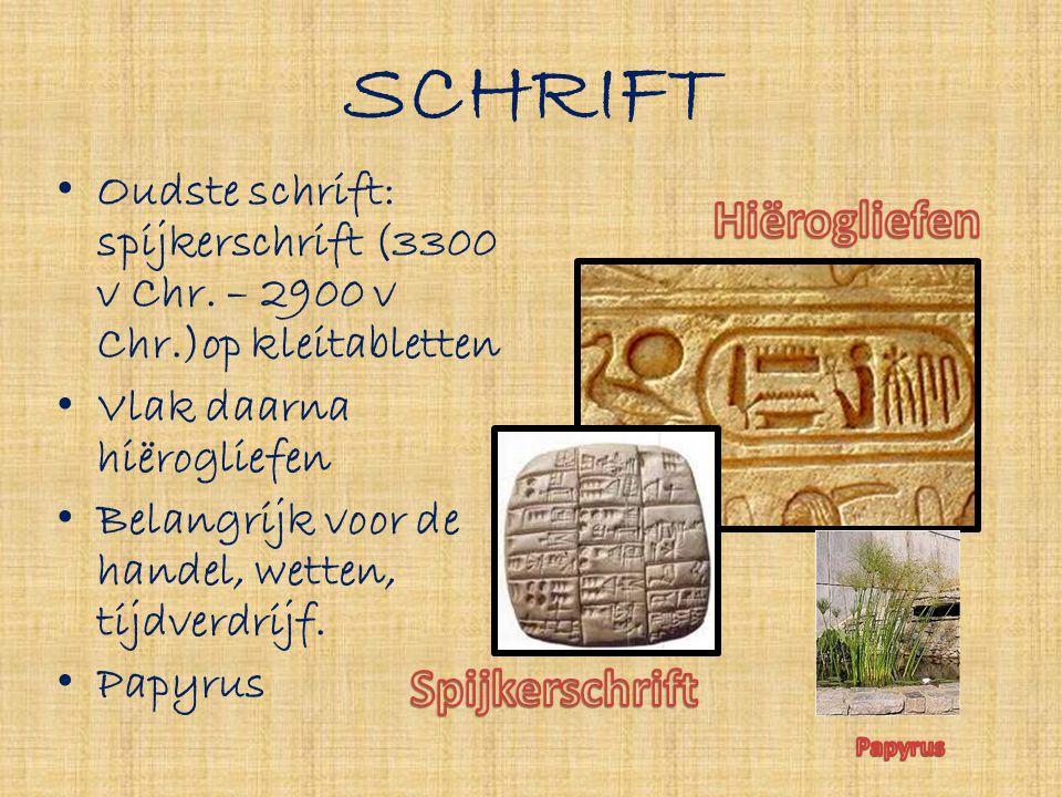SCHRIFT Hiërogliefen Spijkerschrift