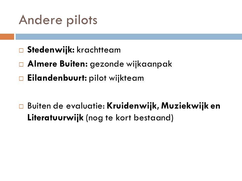 Andere pilots Stedenwijk: krachtteam Almere Buiten: gezonde wijkaanpak