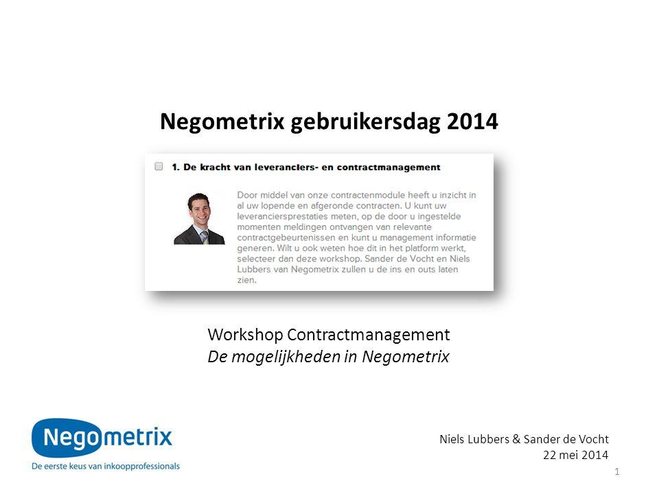 Negometrix gebruikersdag 2014